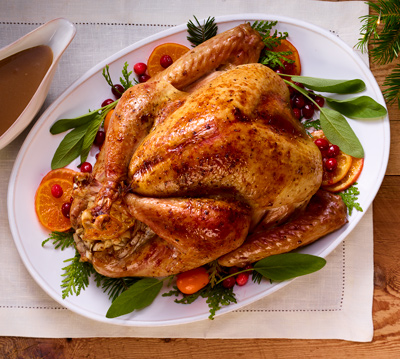 Roast Turkey Recipe with Coffee Sauce, Cranberries & Clementines