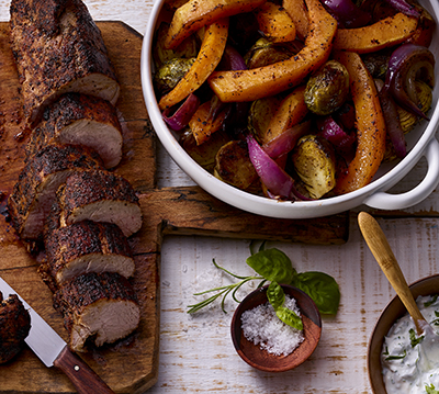 Mexican-Style Pork Tenderloin with Roasted Vegetables