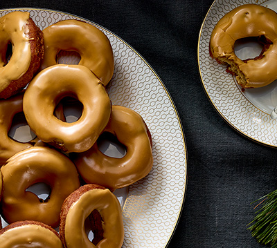 COFFEE-GLAZED COFFEE DONUTS