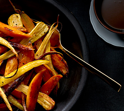 ROASTED VEGETABLES WITH COFFEE, BOURBON, AND MAPLE SYRUP SAUCE
